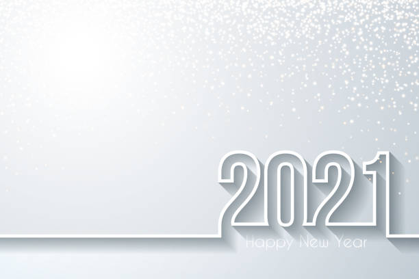 Happy new year 2021 with gold glitter - White background vector art illustration