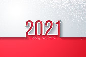 Happy new year 2021 with gold glitter and space for your text. Creative greeting card in a trendy and modern style. The layers are named to facilitate your customization. Vector Illustration (EPS10, well layered and grouped), easy to edit, manipulate, resize or colorize. And Jpeg file of different sizes.