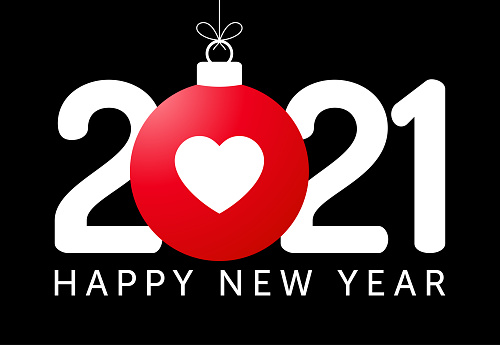 happy new year 2021 with heart icon. Vector illustration in flat style with number 2021 and love heart icon in christmas ball hang on thread.