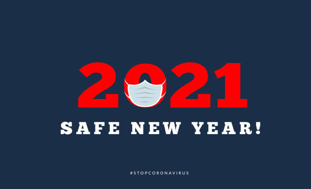 Happy new year 2021 with medical mask. Vector illsutration Happy new year 2021 with medical mask. Vector illsutration on dark blue happy new year 2021 stock illustrations