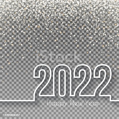 istock Happy new year 2022 Design with gold glitter - Blank Background 1339969052