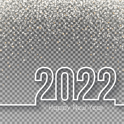 Happy new year 2022 Design with gold glitter - Blank Background