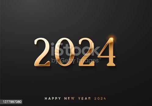 istock Happy New Year 2024. luxury golden number 2024. vector illustration 1277997080