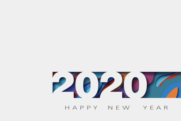 ilustraciones, imágenes clip art, dibujos animados e iconos de stock de 2020 feliz año nuevo, diseño abstracto 3d, ilustración, capas realistas, para banners, carteles folletos - calendario abstracto