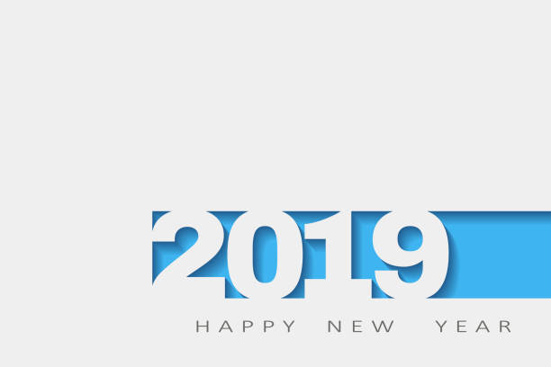 2019 happy new year, abstract design 3d, vector white paper. vector illustration - abstract calendar stock illustrations, clip art, cartoons, & icons