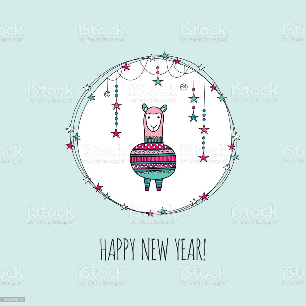 Happy New Year Alpaca Vector Illustration vector art illustration