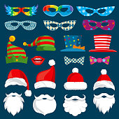 Happy New Year and Christmas holiday paper photobooth props isolated vector set. Christmas beard for photobooth, mask costume illustration