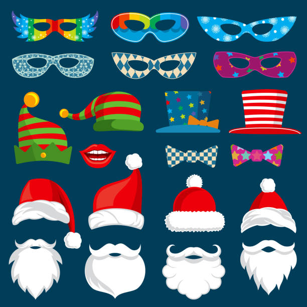 happy new year and christmas holiday paper photobooth props isolated vector set - photo booth stock illustrations, clip art, cartoons, & icons