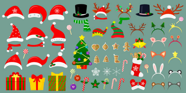 ilustrações de stock, clip art, desenhos animados e ícones de happy new year and christmas. mega set of santa hats and other hats on the head. more than sixty christmas items for your design. vector - cachecol