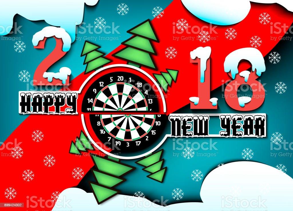 happy new year and darts board vector art illustration