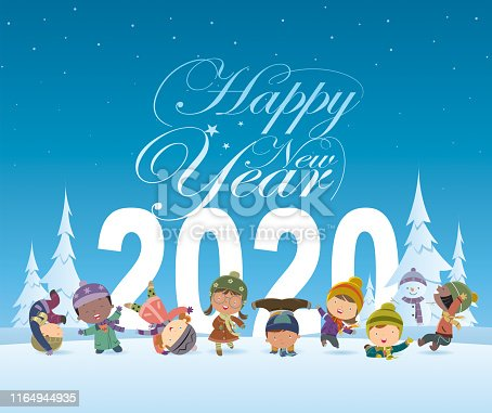 istock happy new year and kids 1164944935