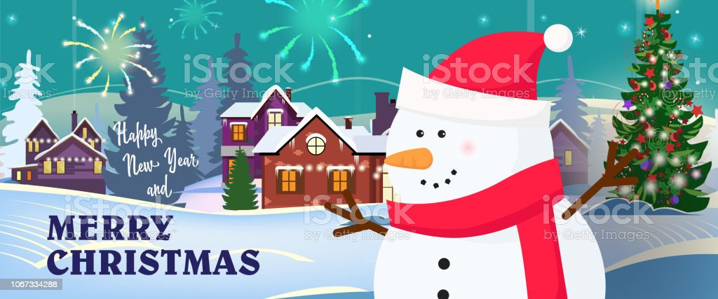 Happy New Year and merry Christmas banner with snowman in scarf and...