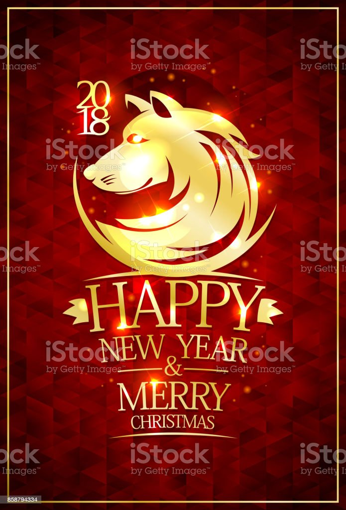 2018 happy new year and merry christmas card with golden dog silhouette royalty free 2018