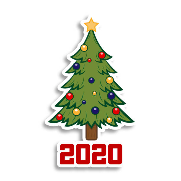 Happy New Year and Merry Christmas. Christmas tree on the white background. Holiday sticker. Happy New Year and Merry Christmas. Christmas tree on the white background. christmas trees stock illustrations