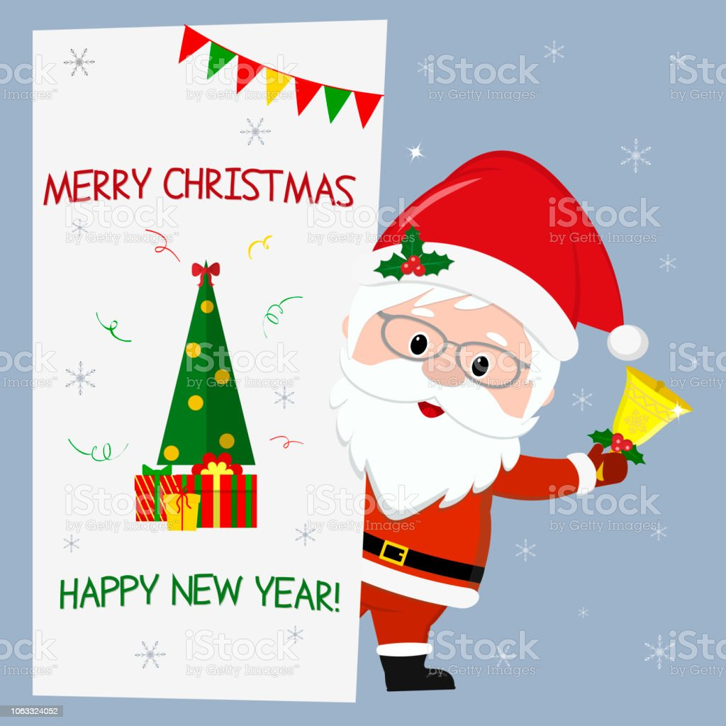 Happy New Year And Merry Christmas Cute Santa Claus With Glasses ...