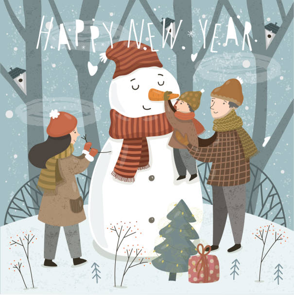 Happy New Year and Merry Christmas! Cute vector illustration of a family in the forest on the nature before the holiday. Mother, father and baby sculpt a snowman. Winter drawing for card, poster vector art illustration