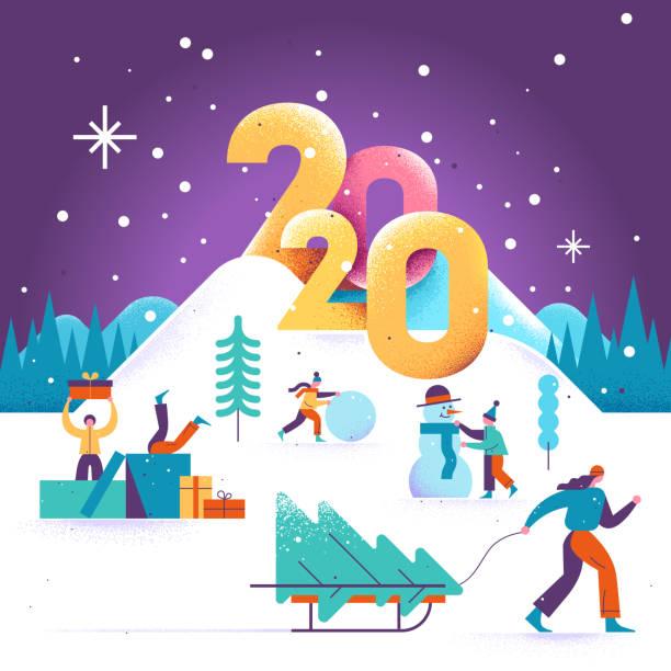 bildbanksillustrationer, clip art samt tecknat material och ikoner med gott nytt år och god jul gratulationskort 2020 med vinter utomhusaktiviteter fritidsaktiviteter. människor som går i vinterparken. barn att göra en snögubbe. vektor illustration. - christmas gift family
