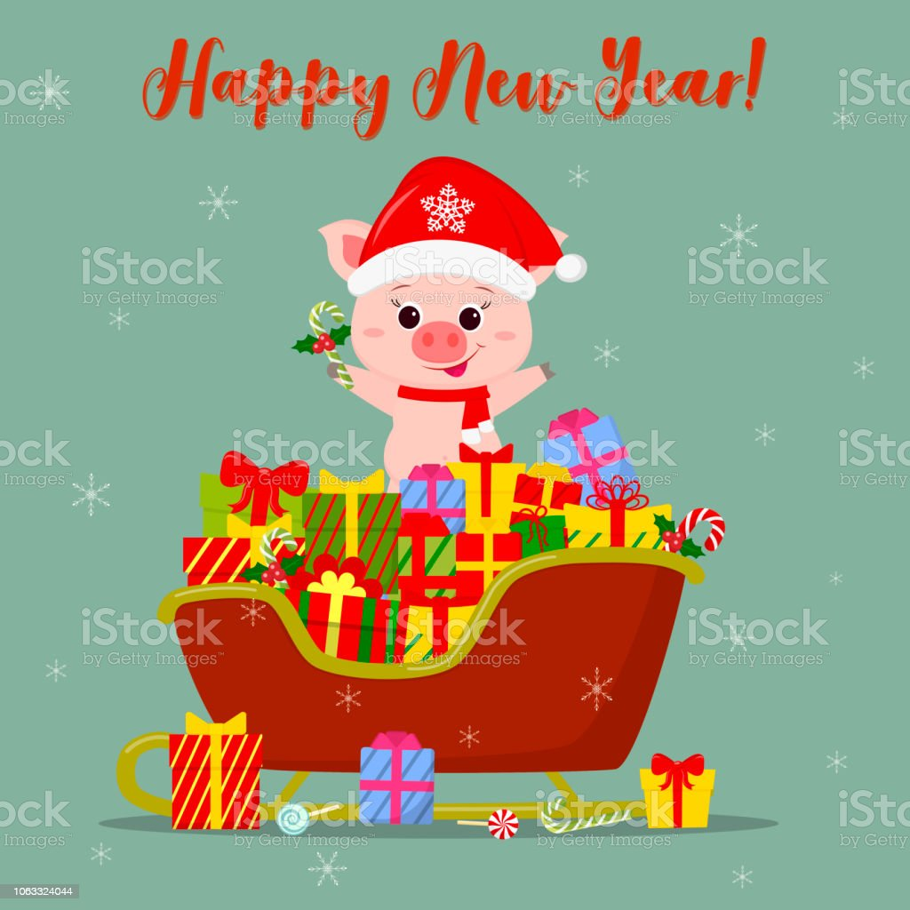 happy new year and merry christmas greeting card a cute pig in a santa hat