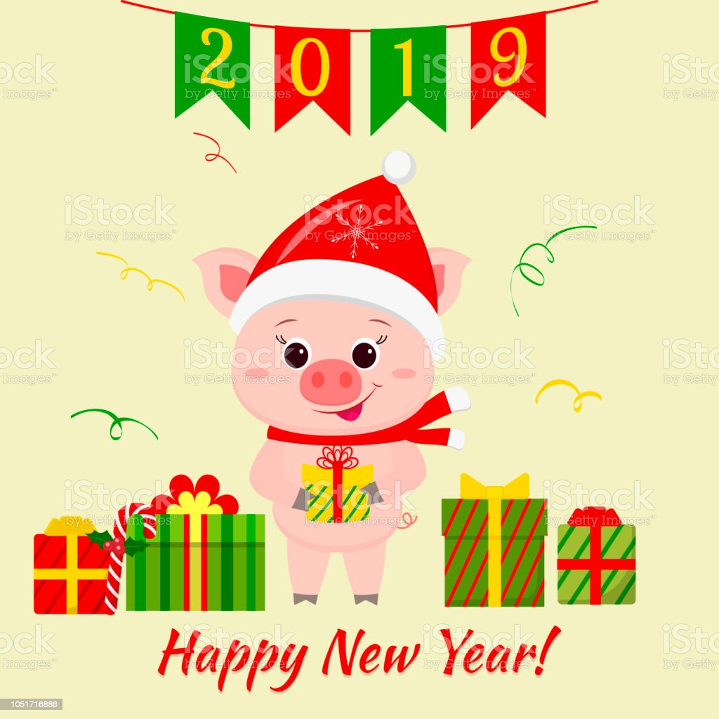 happy new year and merry christmas greeting card a cute pig in santa s hat