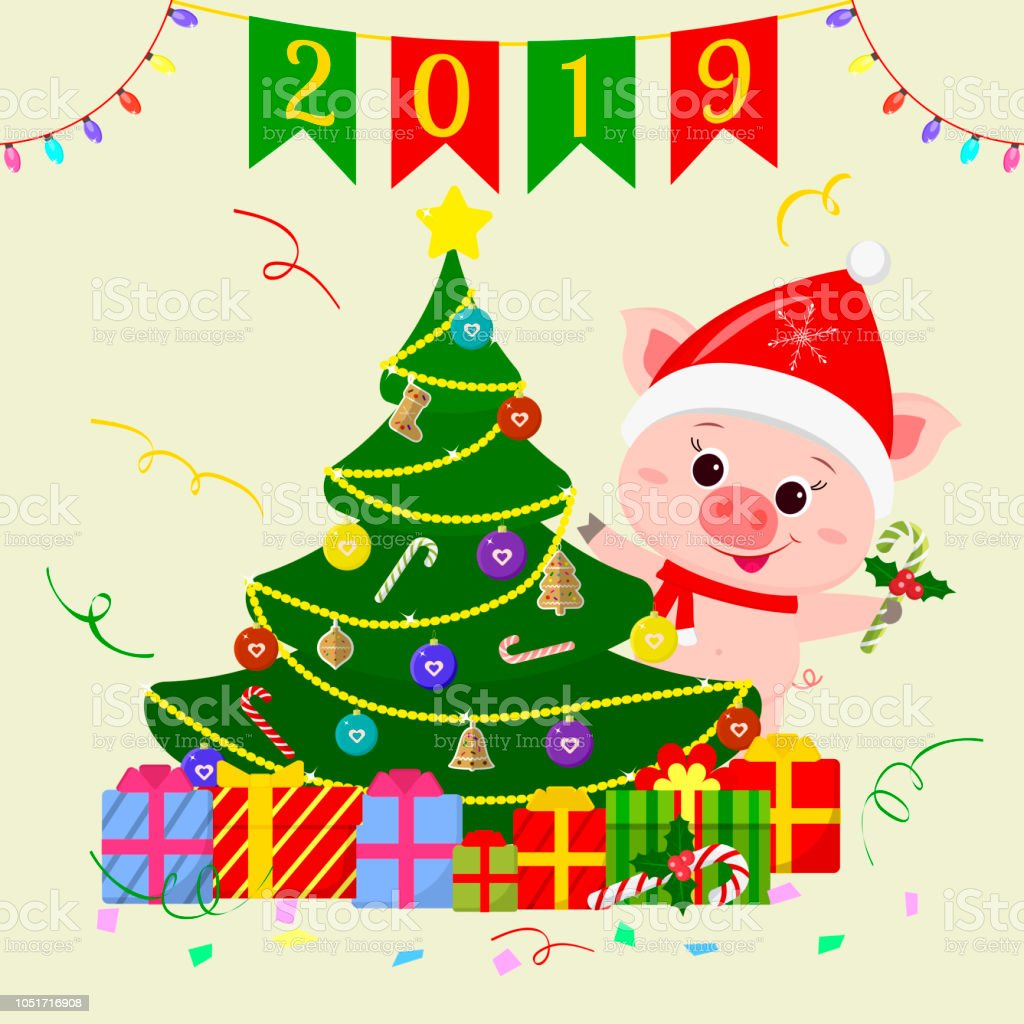 Happy New Year And Merry Christmas Greeting Card A Cute Pig Wearing ...