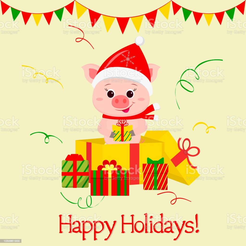 Christmas Greeting.Happy New Year And Merry Christmas Greeting Card A Merry Pig Wearing A Santa Claus Hat And Scarf Is Standing In A Gift Box And Holding A Gift The