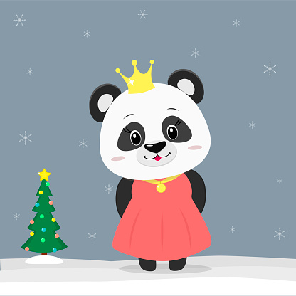 Happy New Year and Merry Christmas Greeting Card. Cute little panda dressed as a princess. Christmas tree in winter. The symbol of the new year in the Chinese calendar. Vector