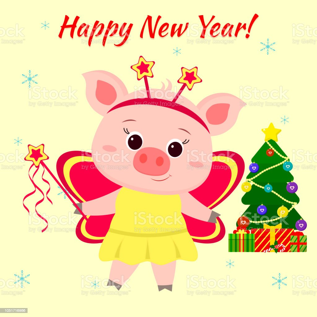happy new year and merry christmas greeting card cute little piglet in a fairy butterfly
