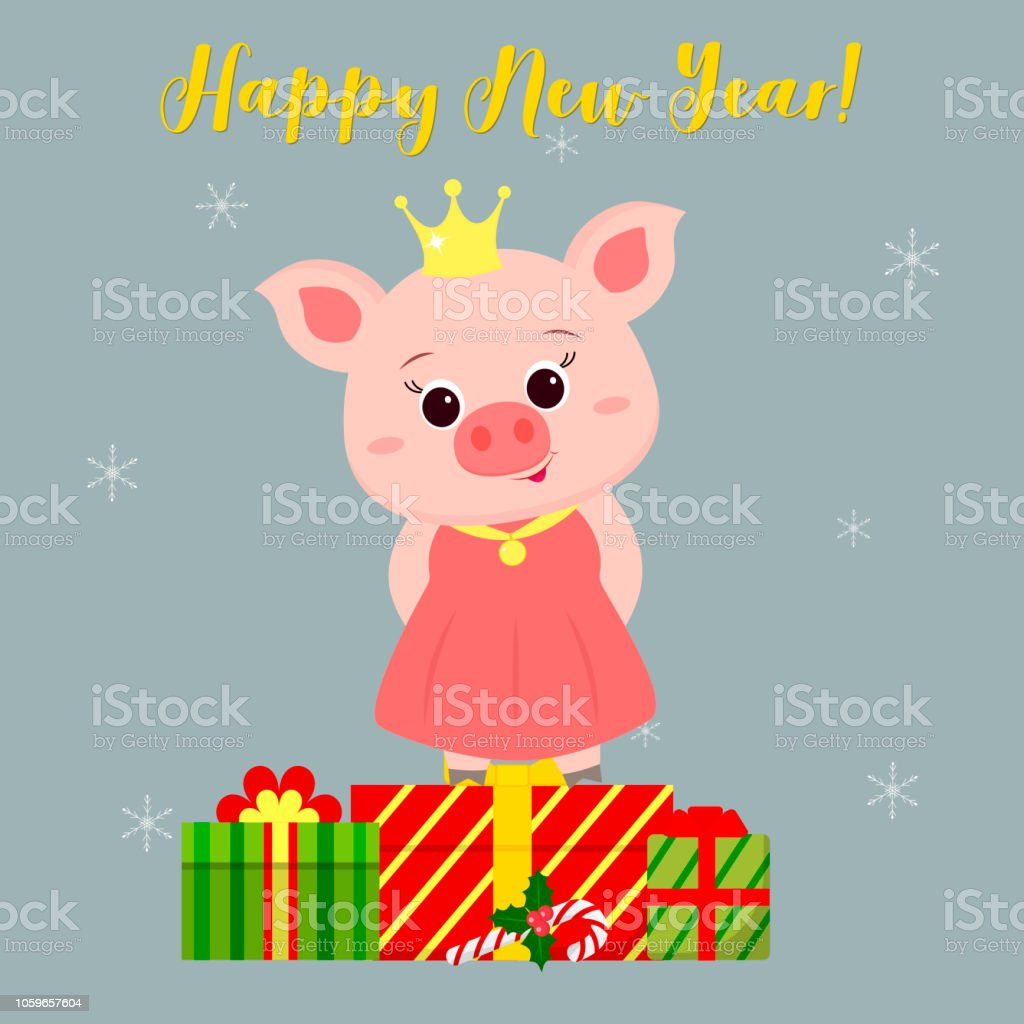 happy new year and merry christmas greeting card cute pig in a santa suit holding