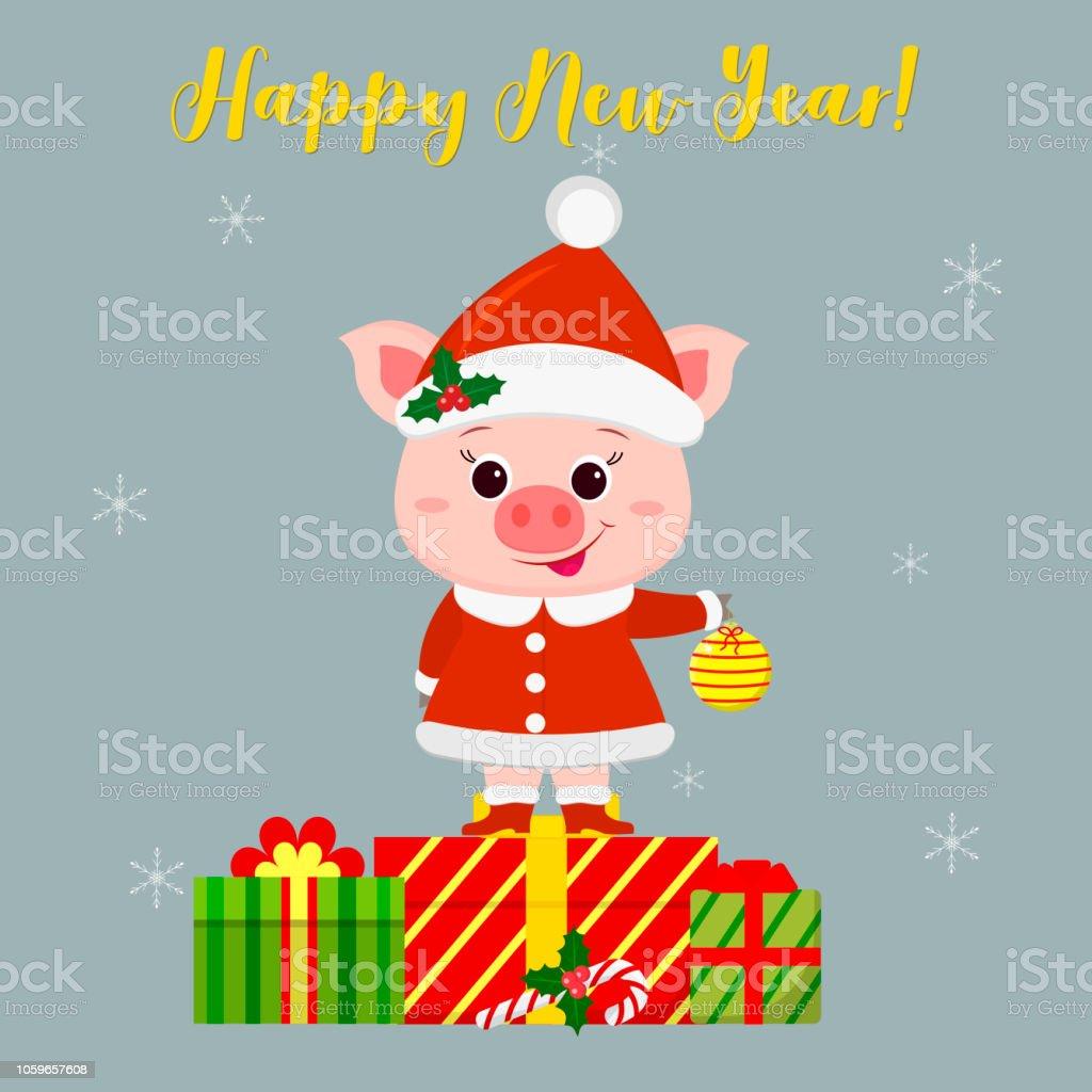 Glückliche Neues Jahr Und Frohe Weihnachten Gruß Card Niedliche ...