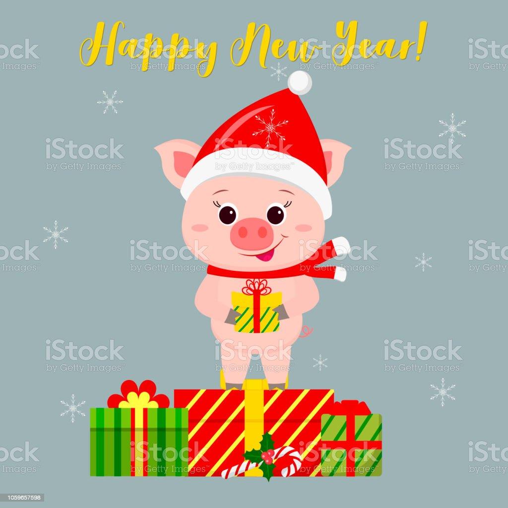 Glückliches Neujahr Und Frohe Weihnachten Gruß Card Niedliche ...