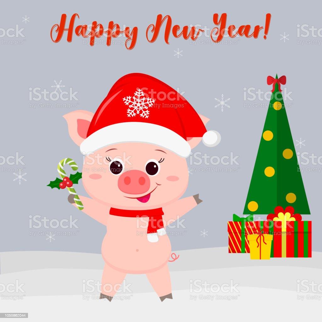 Frohes Neues Jahr Und Frohe Weihnachten Grußkarte Niedliche Katze Im ...