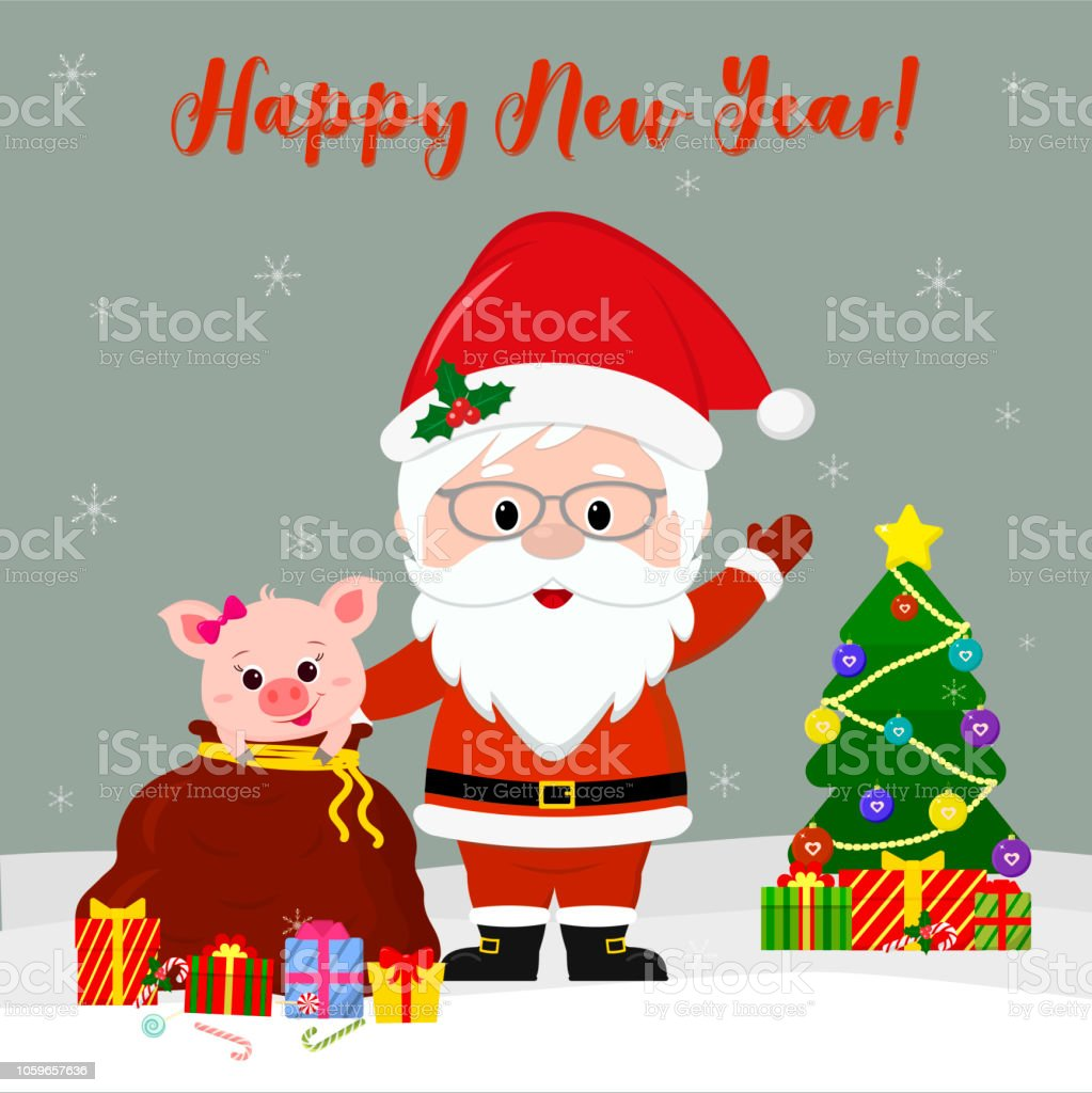 happy new year and merry christmas greeting card cute santa claus in glasses holds a