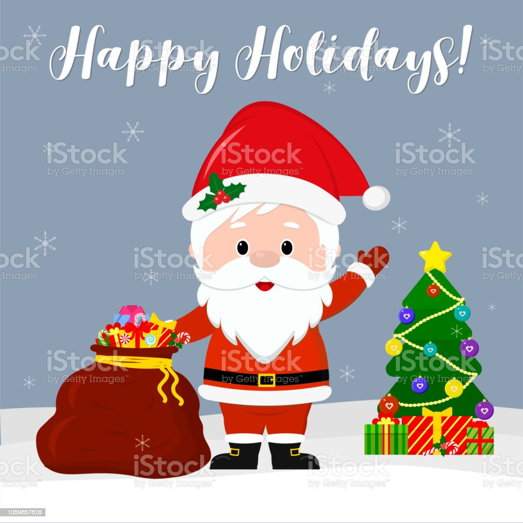 Happy New Year And Merry Christmas Greeting Card Cute Santa Claus Is ...