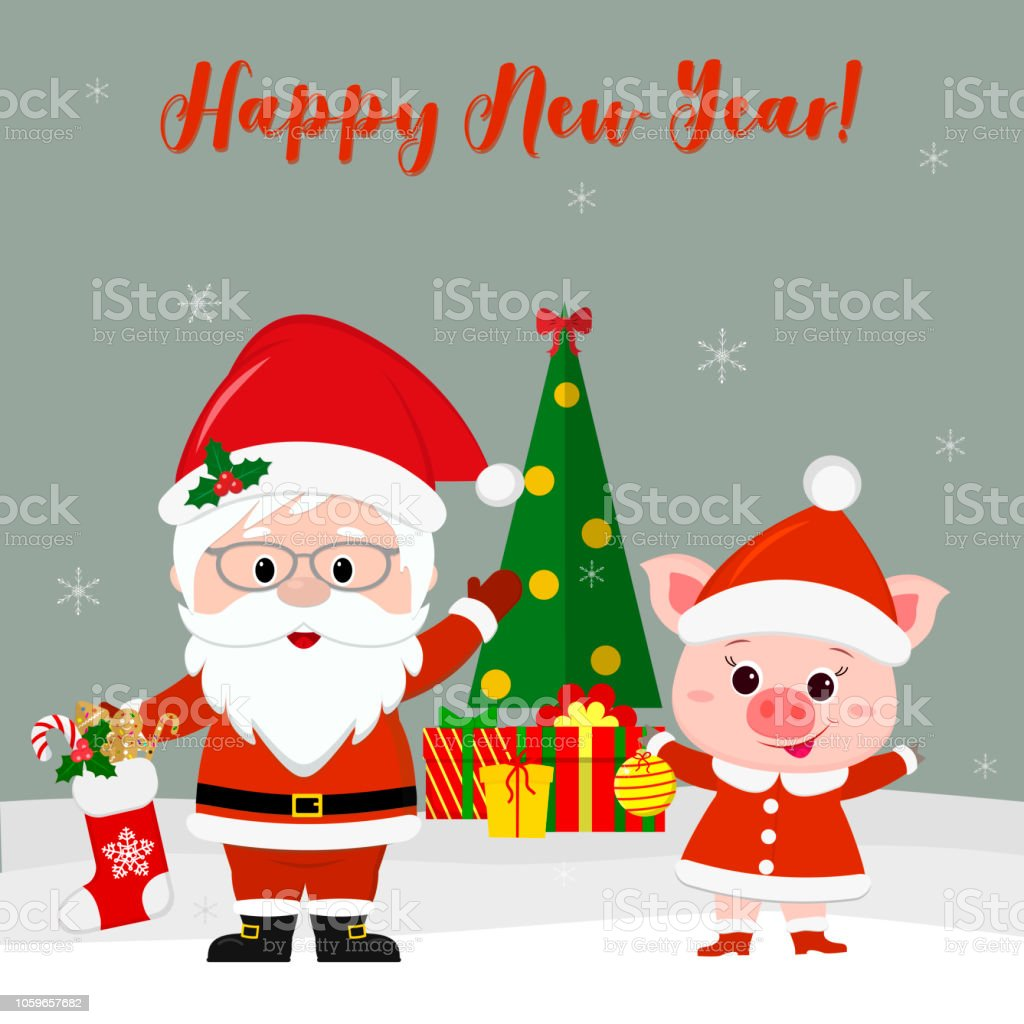 Happy New Year And Merry Christmas Greeting Card Cute Santa Claus