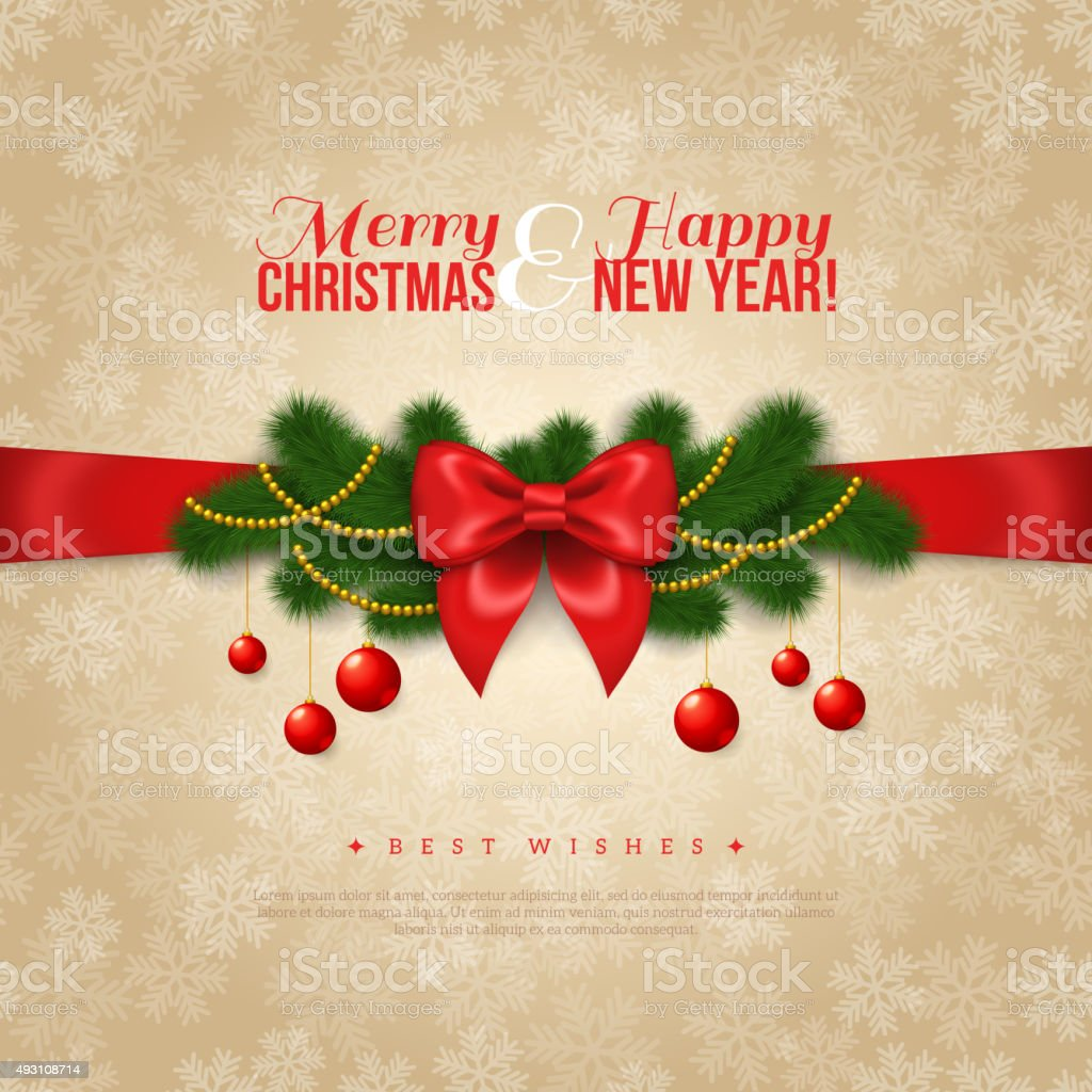 Happy New Year And Merry Christmas Greeting Card Design Stock Vector ...
