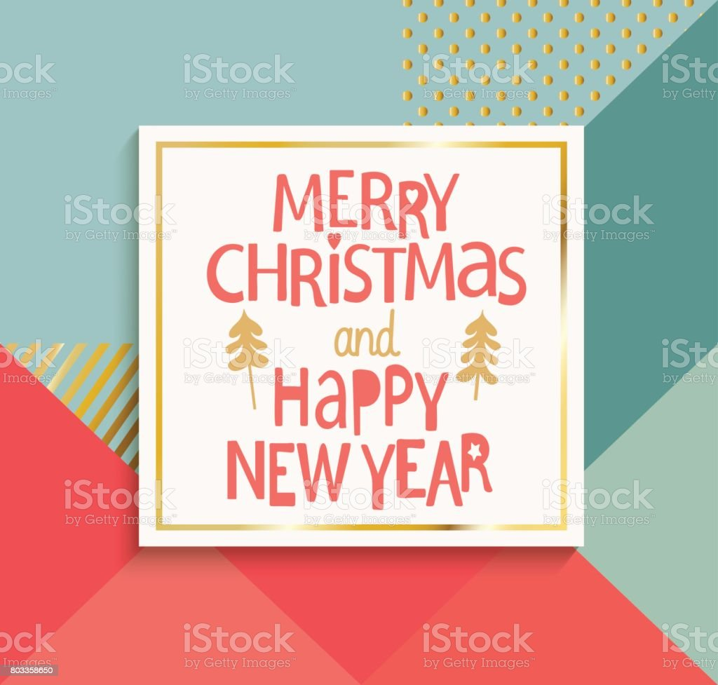 Glückliches Neues Jahr Und Frohe Weihnachten Moderne Karte Stock ...