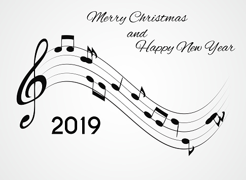 2019 Happy New Year And Merry Christmas On Abstract Music Background Vector Illustration Stock ...