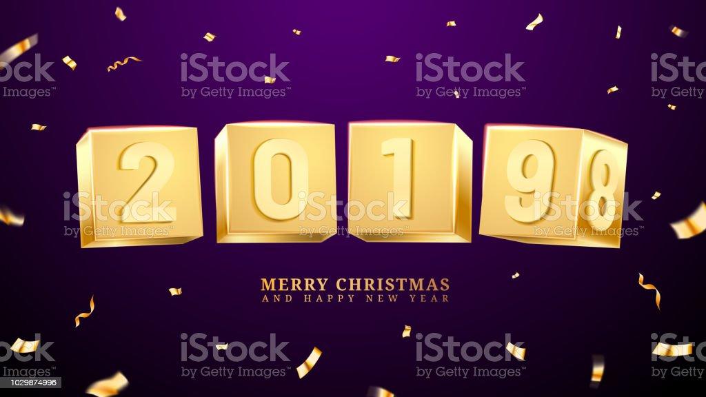2019 Frohes Neues Jahr Und Frohe Weihnachten Oder Xmas Stock Vektor ...