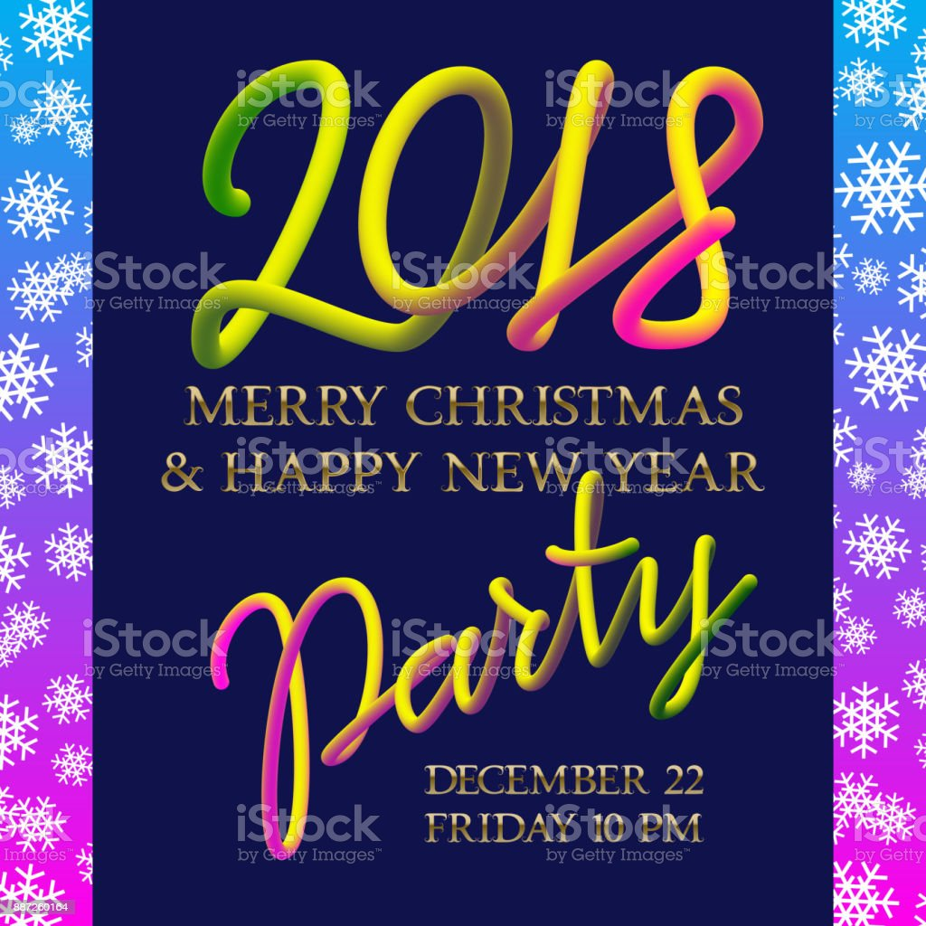2018 happy new year and merry christmas party golden and fluid colors invitation poster design