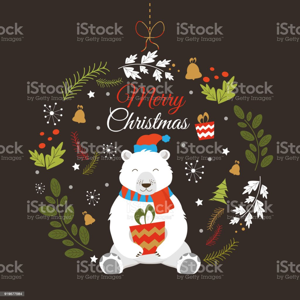 Happy New Year And Merry Christmas Vector Card With Funny Santa ...