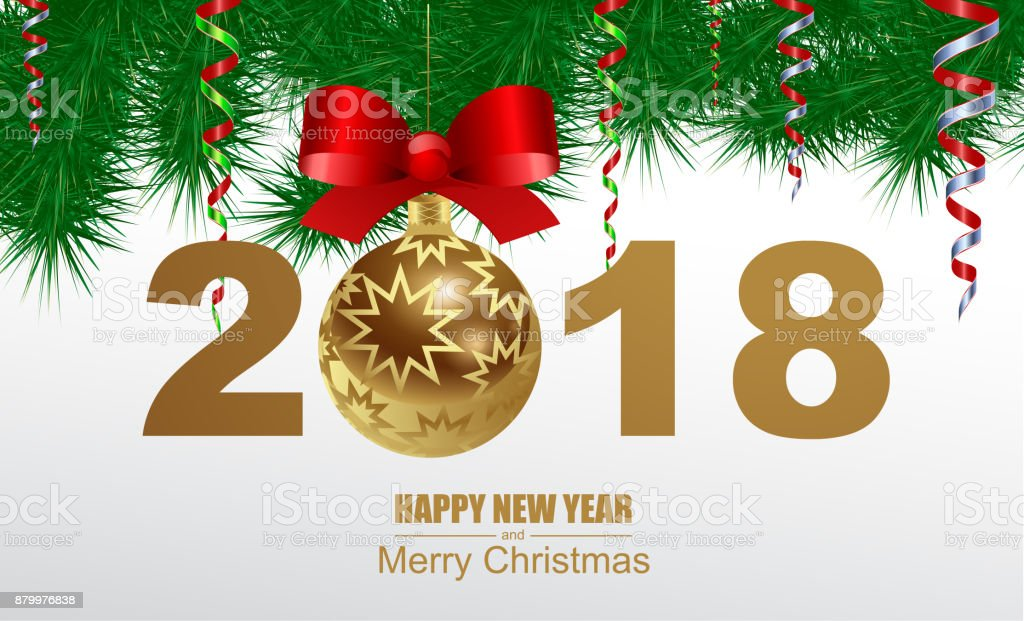 Frohes neues Jahr und Frohe Weihnachten. – Vektorgrafik