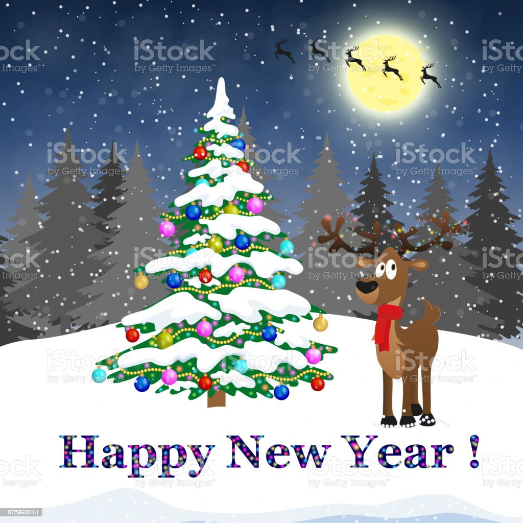 happy new year and merry christmas winter with christmas tree concept for greeting and postal