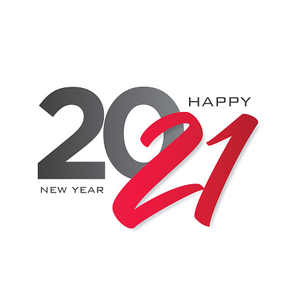 2021 Happy New Year background. 2021 lettering. Seasonal greeting card template. stock illustration