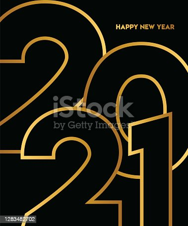 istock 2021 Happy New Year background. 2021 lettering. Seasonal greeting card template. stock illustration 1283482702