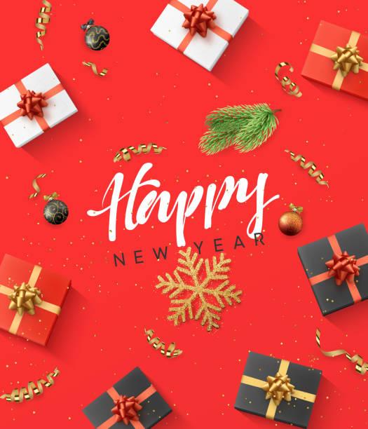 illustrazioni stock, clip art, cartoni animati e icone di tendenza di happy new year background. christmas composition. gift, confetti, golden snowflake and xmas balls - regalo natale