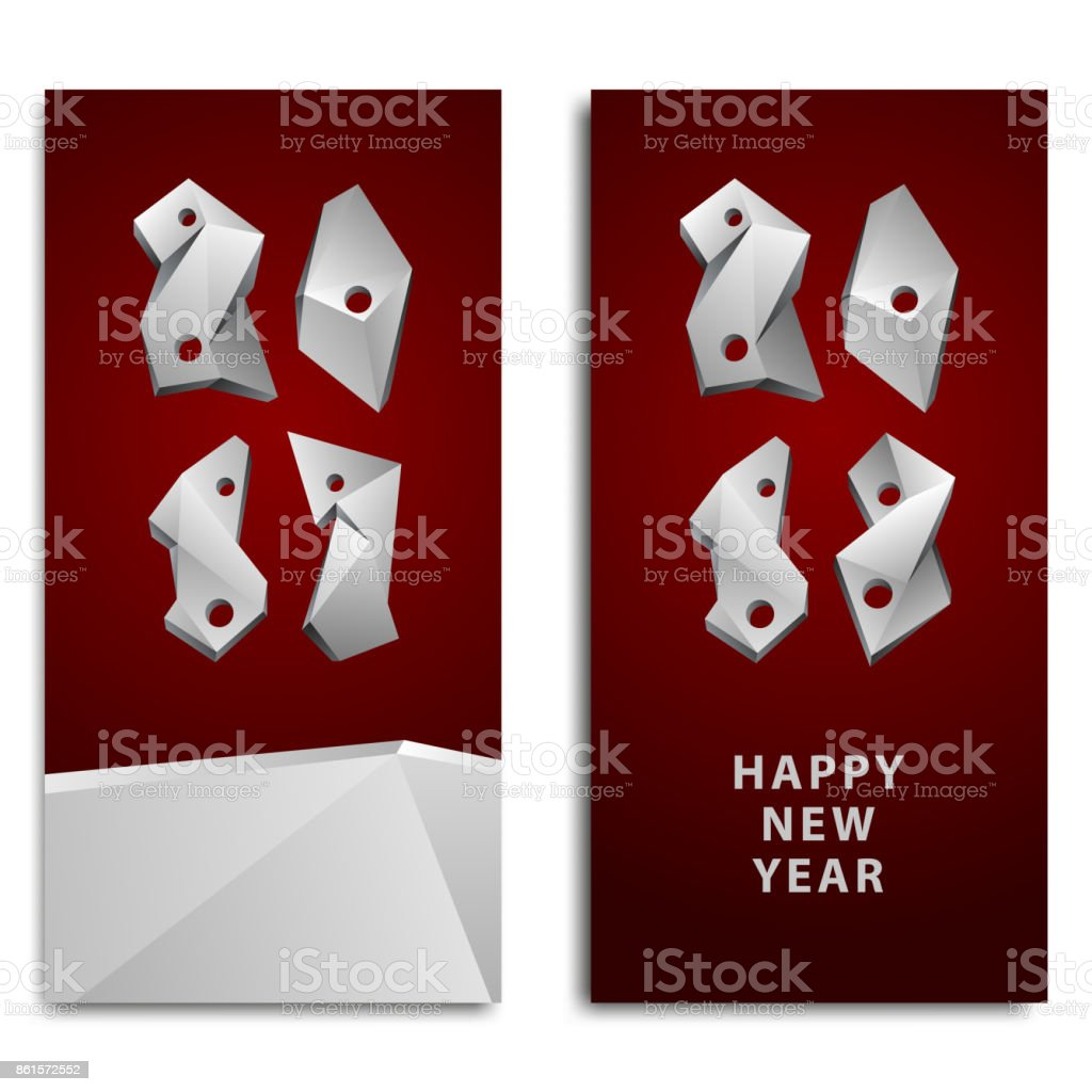 Happy New Year background for the invitation. Abstract 2018 polygonal numbers for the calendar. vector art illustration