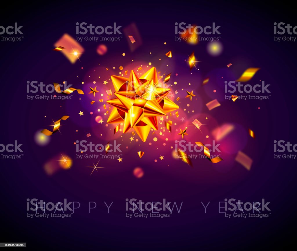happy new year background greeting card banner flyer or poster with shiny bow
