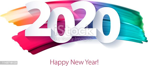 istock 2020 Happy New Year background. Seasonal greeting card template. 1143718123
