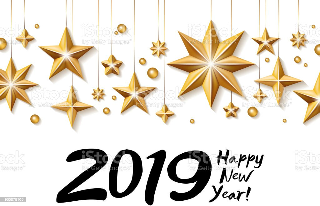 2019 happy new year background seasonal greeting card template stock