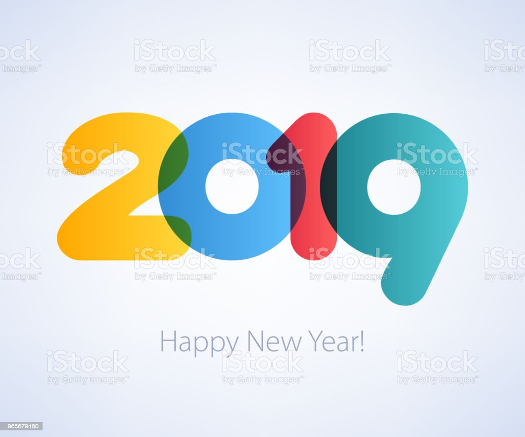 2019 Happy New Year background. Seasonal greeting card template vector art illustration